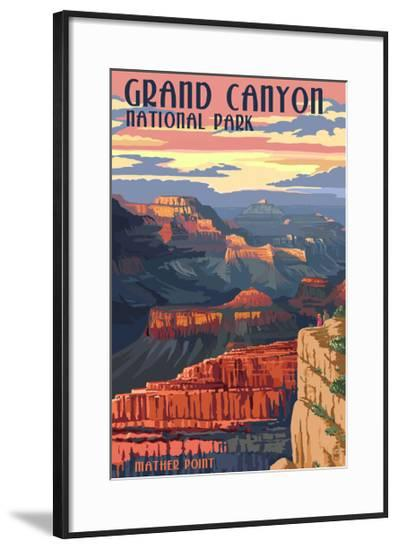 Grand Canyon National Park - Mather Point-Lantern Press-Framed Art Print