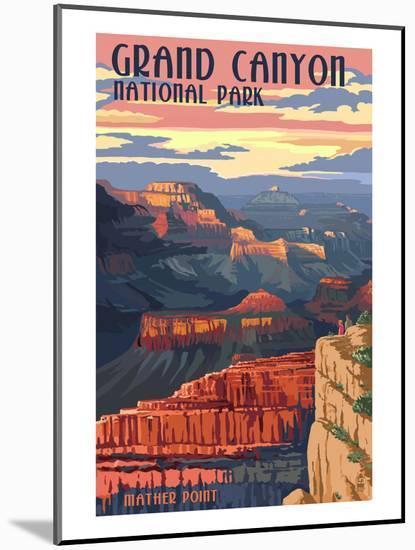 Grand Canyon National Park - Mather Point-Lantern Press-Mounted Art Print