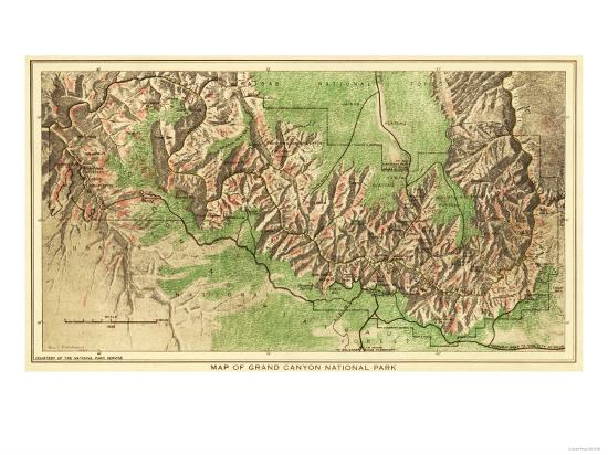 Grand Canyon National Park - Panoramic Map-Lantern Press-Art Print