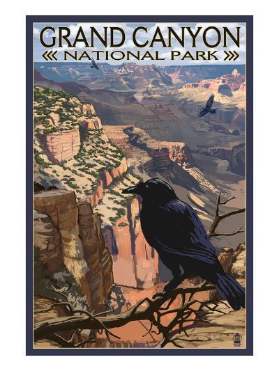 Grand Canyon National Park - Ravens at South Rim-Lantern Press-Art Print
