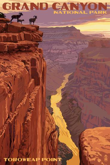 Grand Canyon National Park - Toroweap Point-Lantern Press-Art Print