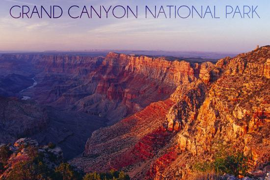 Grand Canyon National Park - Watchtower and River-Lantern Press-Wall Mural