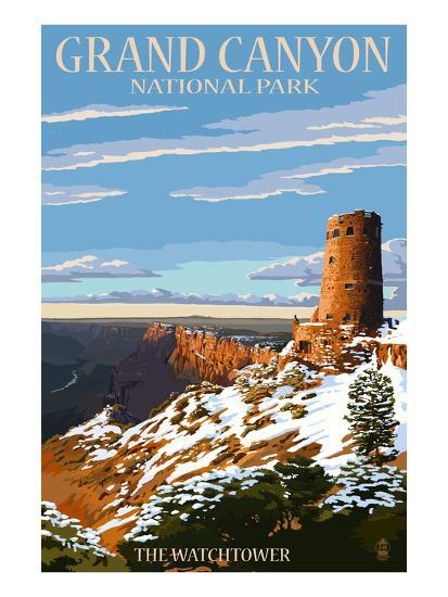 Grand Canyon National Park - Watchtower and Snow-Lantern Press-Art Print