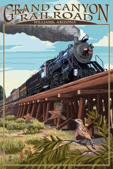 Grand Canyon Railway, Arizona - Trestle-Lantern Press-Art Print
