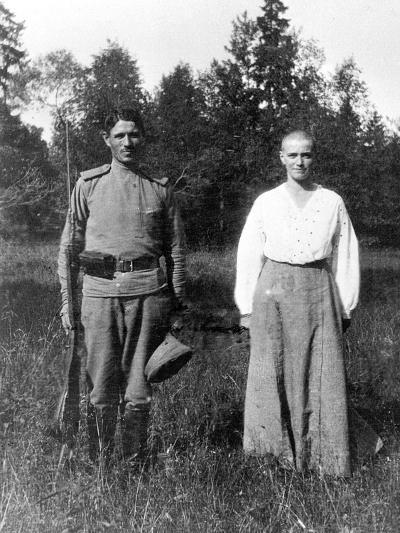 Grand Duchess Maria with a Guard, Alexander Park, Tsarskoye Selo--Photographic Print