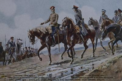 Grand Duke Nicholas in Hussar Uniform, and Cossacks, Postcard, World War I, Russia--Giclee Print