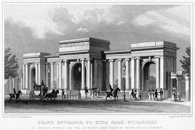 Grand Entrance to Hyde Park, Piccadilly, Westminster, London, 19th Century-W Wallis-Giclee Print