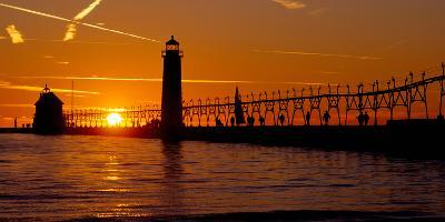 Grand Haven Lighthouse at Sunset, Grand Haven, Michigan, USA--Photographic Print