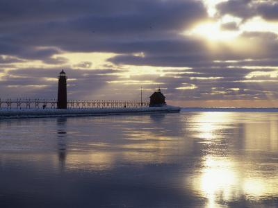 Grand Haven Lighthouse on Lake Michigan at Sunset, Grand Haven, Michigan, USA-Adam Jones-Photographic Print