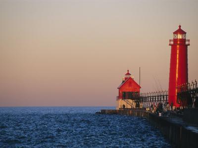 Grand Haven Lighthouse on Lake Michigan, Grand Haven, Michigan, USA-Michael Snell-Photographic Print