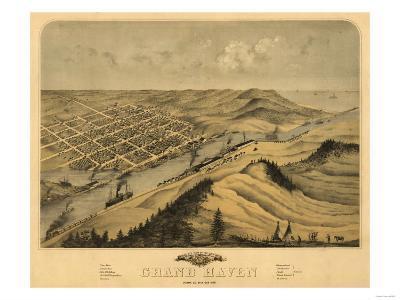 Grand Haven, Michigan - Panoramic Map-Lantern Press-Art Print