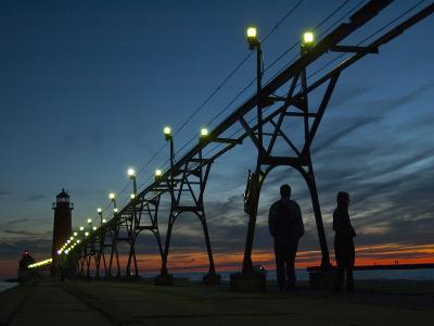 Grand Haven Pier on Lake Michigan at Twilight-Karen Kasmauski-Photographic Print