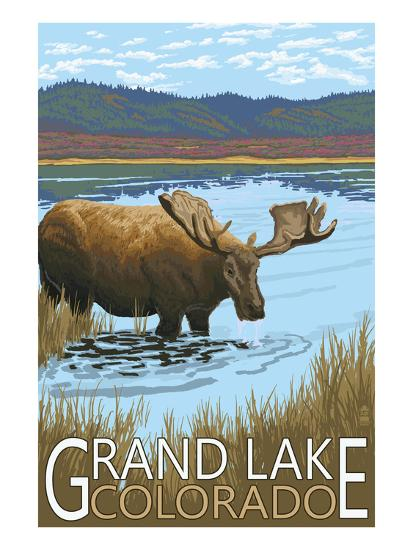Grand Lake, Colorado - Moose and Lake-Lantern Press-Art Print