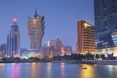 Grand Lisboa and Wynn Hotel and Casino at Dusk, Macau, China, Asia-Ian Trower-Photographic Print