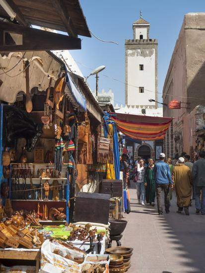 Grand Mosque and Street Scene in the Medina, Essaouira, Morocco, North Africa, Africa-Charles Bowman-Photographic Print