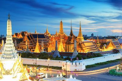 Grand Palace and Wat Phra Keaw at Sunset Bangkok, Thailand. Beautiful Landmark of Thailand. Temple- SOUTHERNTraveler-Photographic Print