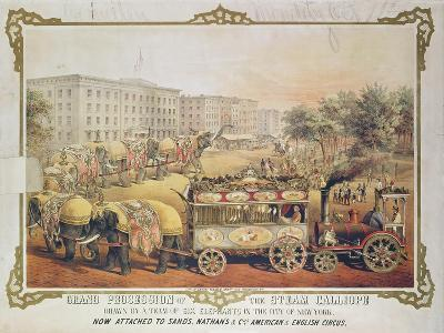 Grand Procession of the Steam Calliope Drawn by a Team of Six Elephants in the City of New York--Giclee Print