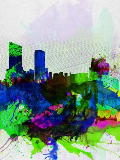 Grand Rapids Watercolor Skyline-NaxArt-Art Print
