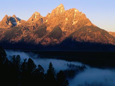 Grand Teton at Sunrise, from Snake River Overlook, Grand Teton National Park, Wyoming-Holger Leue-Photographic Print