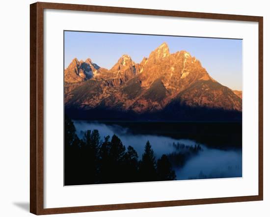 Grand Teton at Sunrise, from Snake River Overlook, Grand Teton National Park, Wyoming-Holger Leue-Framed Photographic Print