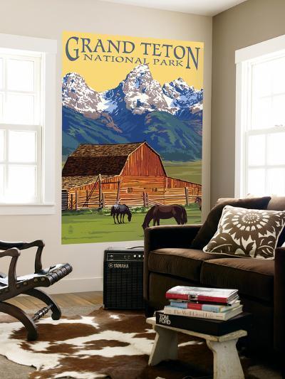 Grand Teton National Park - Barn and Mountains-Lantern Press-Wall Mural