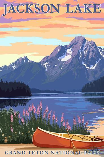 Grand Teton National Park - Jackson Lake-Lantern Press-Wall Mural