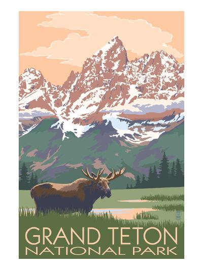Grand Teton National Park - Moose and Mountains-Lantern Press-Art Print