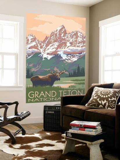 Grand Teton National Park - Moose and Mountains-Lantern Press-Wall Mural