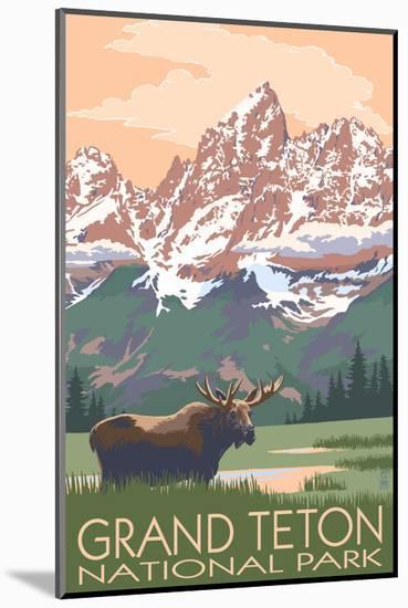 Grand Teton National Park - Moose and Mountains-Lantern Press-Mounted Photographic Print