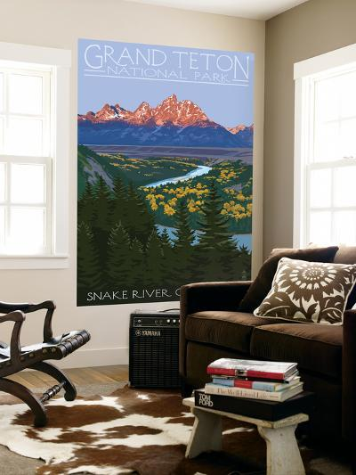 Grand Teton National Park - Snake River Overlook-Lantern Press-Wall Mural