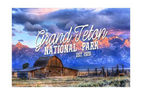Grand Teton National Park, Wyoming - Barn and Sunset-Lantern Press-Art Print