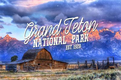 Grand Teton National Park, Wyoming - Barn and Sunset-Lantern Press-Wall Mural