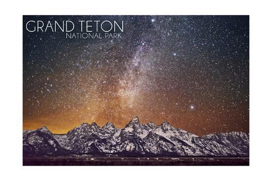 Grand Teton National Park, Wyoming - Milky Way-Lantern Press-Art Print