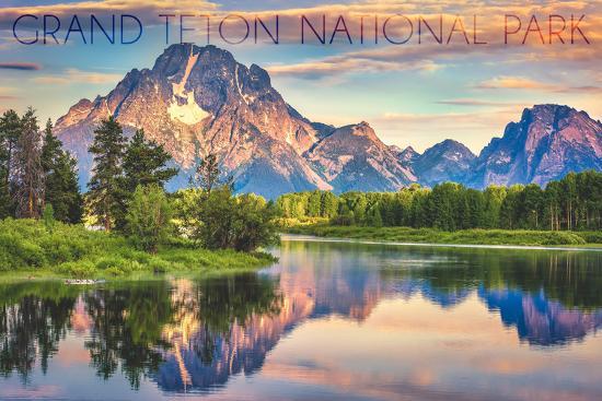 Grand Teton National Park, Wyoming - Sunrise and Snake River-Lantern Press-Wall Mural