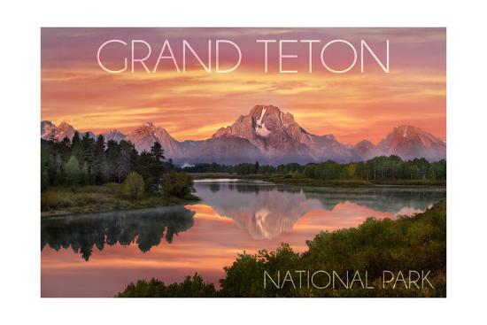 Grand Teton National Park, Wyoming - Sunset and Mountains-Lantern Press-Art Print