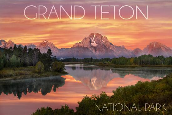 Grand Teton National Park, Wyoming - Sunset and Mountains-Lantern Press-Wall Mural