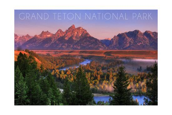 Grand Teton National Park, Wyoming - Sunset River and Mountains-Lantern Press-Art Print
