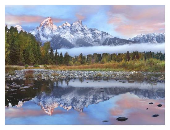 Grand Tetons reflected in lake, Grand Teton National Park, Wyoming-Tim Fitzharris-Art Print