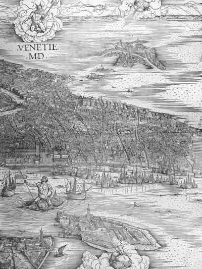 Grande Pianta Prospettica - Venice, C.1500 (Engraving) (Middle Section)-Jacopo De' Barbari-Giclee Print