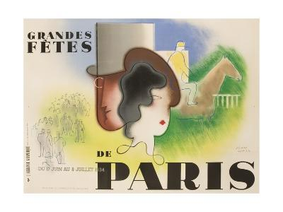 Grandes Fetes De Paris, 1934 French Travel and Tourism Poster--Giclee Print