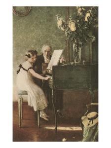 Grandfather Teaching Girl Pianoforte
