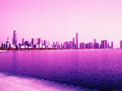 Grandiose Skyline as Seen across the Rippled River Surface in Chicago, Illinois--Photographic Print
