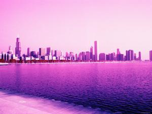 Grandiose Skyline as Seen across the Rippled River Surface in Chicago, Illinois
