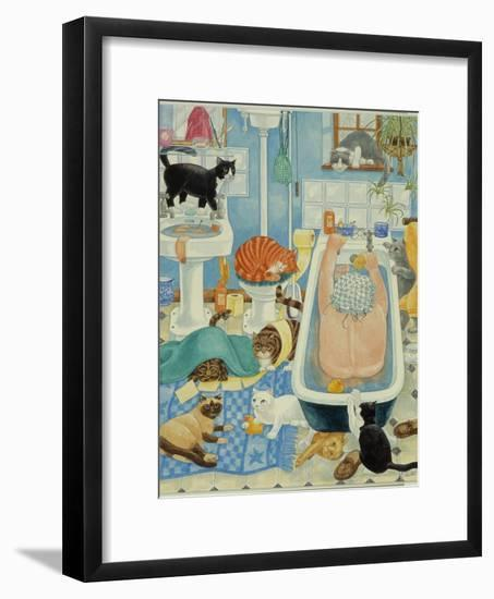Grandma and 10 cats in the bathroom-Linda Benton-Framed Giclee Print