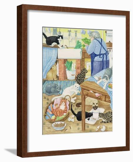 Grandma and 10 Cats in the Kitchen-Linda Benton-Framed Giclee Print