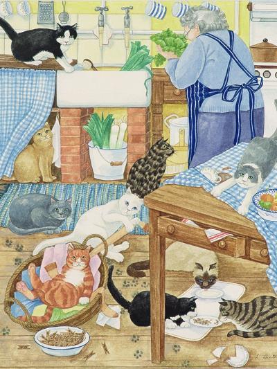 Grandma and 10 Cats in the Kitchen-Linda Benton-Giclee Print