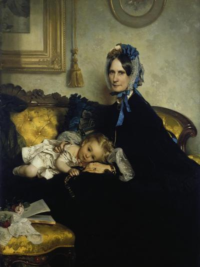 Grandmother and Grand-Daughter, 1863-Julius Scholtz-Giclee Print