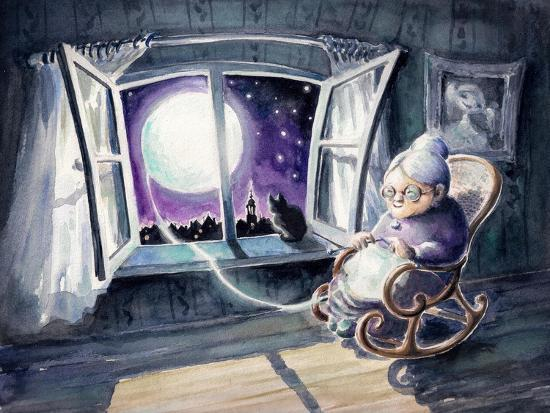 Grandmother Knitting a Sweater with a Lunar Light.Picture Created with Watercolors.-DeepGreen-Art Print
