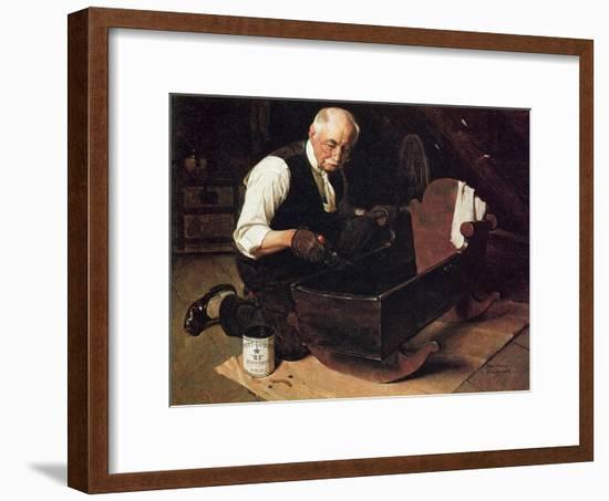 Grandpa's Gift (or Grandfather Varnishing the Cradle; Up in the Garret)-Norman Rockwell-Framed Giclee Print