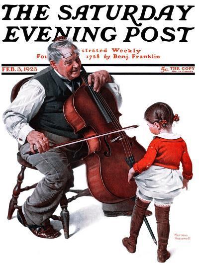 """Grandpa's Little Ballerina"" Saturday Evening Post Cover, February 3,1923-Norman Rockwell-Giclee Print"
